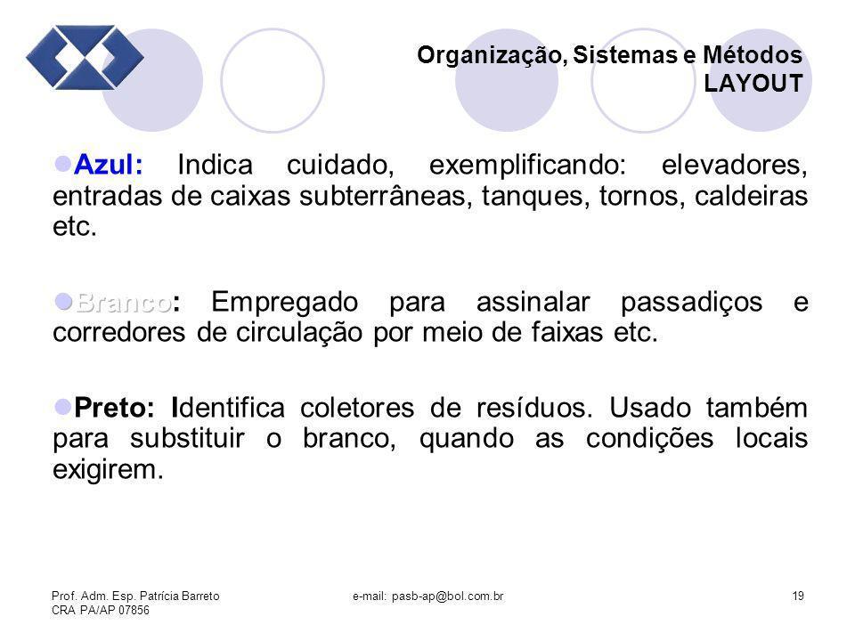 Prof. Adm. Esp. Patrícia Barreto CRA PA/AP 07856 e-mail: pasb-ap@bol.com.br19 Organização, Sistemas e Métodos LAYOUT