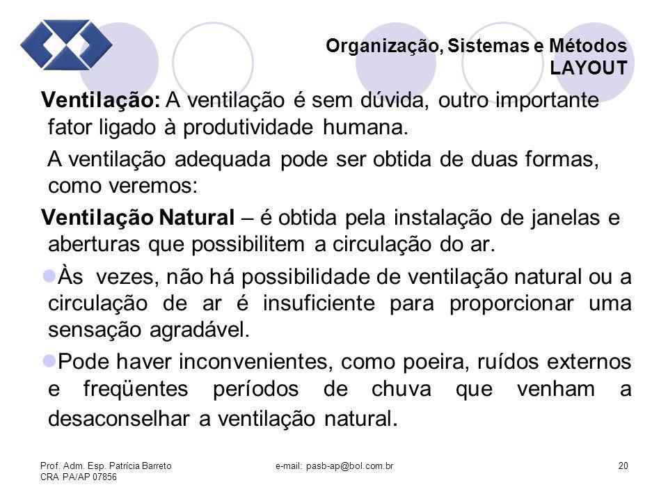 Prof. Adm. Esp. Patrícia Barreto CRA PA/AP 07856 e-mail: pasb-ap@bol.com.br20 Organização, Sistemas e Métodos LAYOUT Ventilação: A ventilação é sem dú