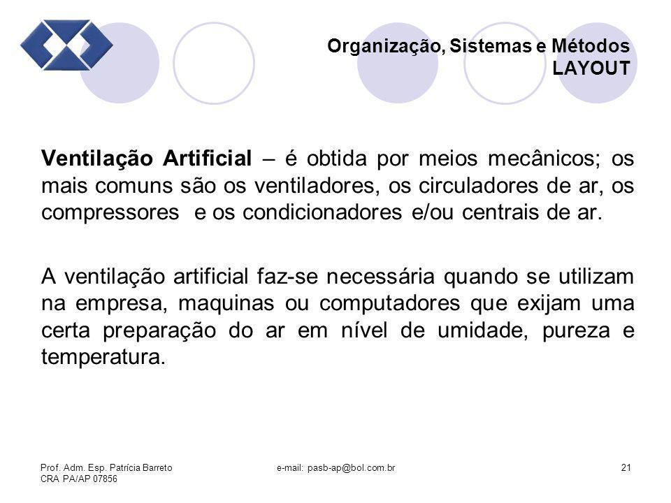 Prof. Adm. Esp. Patrícia Barreto CRA PA/AP 07856 e-mail: pasb-ap@bol.com.br21 Organização, Sistemas e Métodos LAYOUT Ventilação Artificial – é obtida