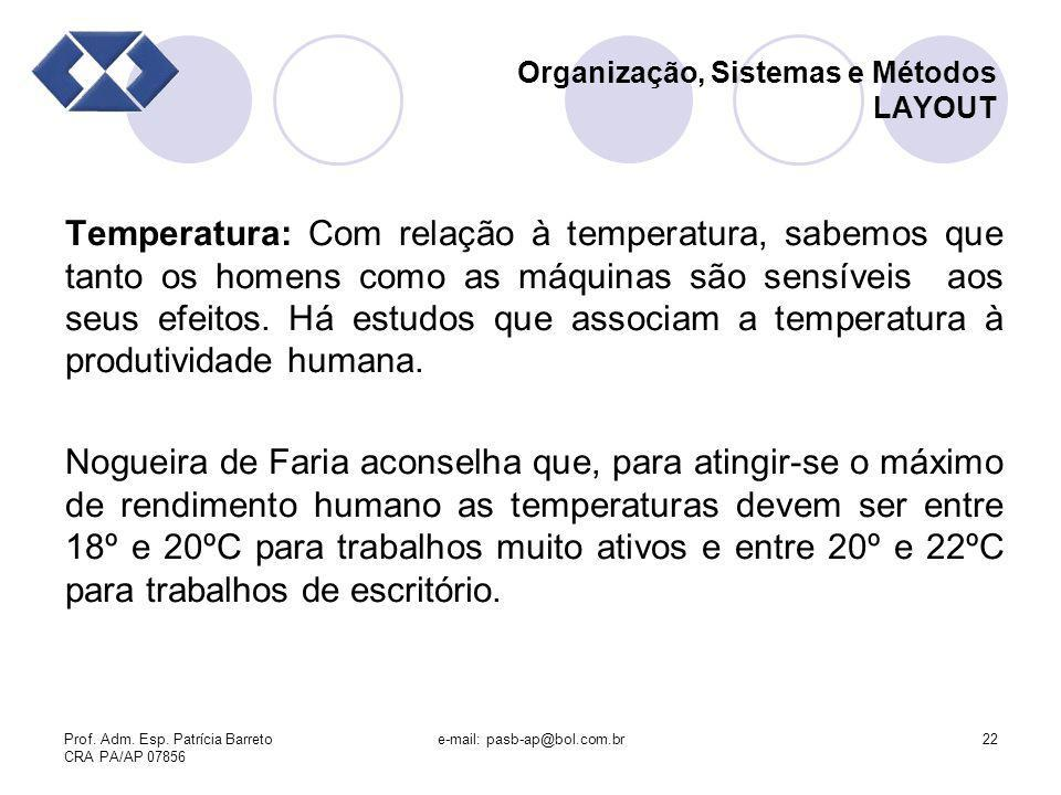 Prof. Adm. Esp. Patrícia Barreto CRA PA/AP 07856 e-mail: pasb-ap@bol.com.br22 Organização, Sistemas e Métodos LAYOUT Temperatura: Com relação à temper