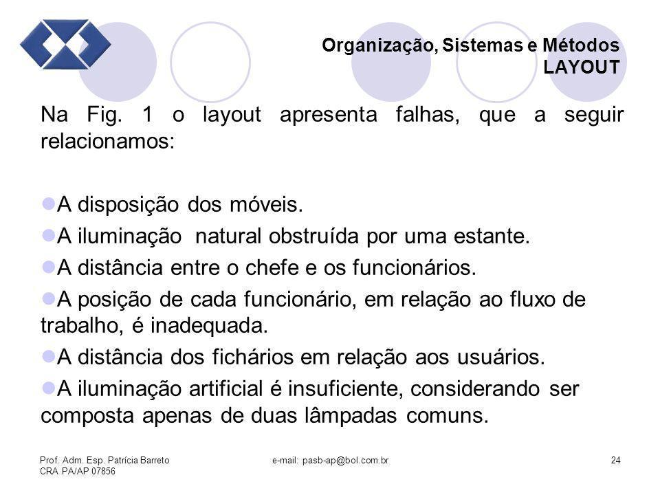 Prof. Adm. Esp. Patrícia Barreto CRA PA/AP 07856 e-mail: pasb-ap@bol.com.br24 Organização, Sistemas e Métodos LAYOUT Na Fig. 1 o layout apresenta falh