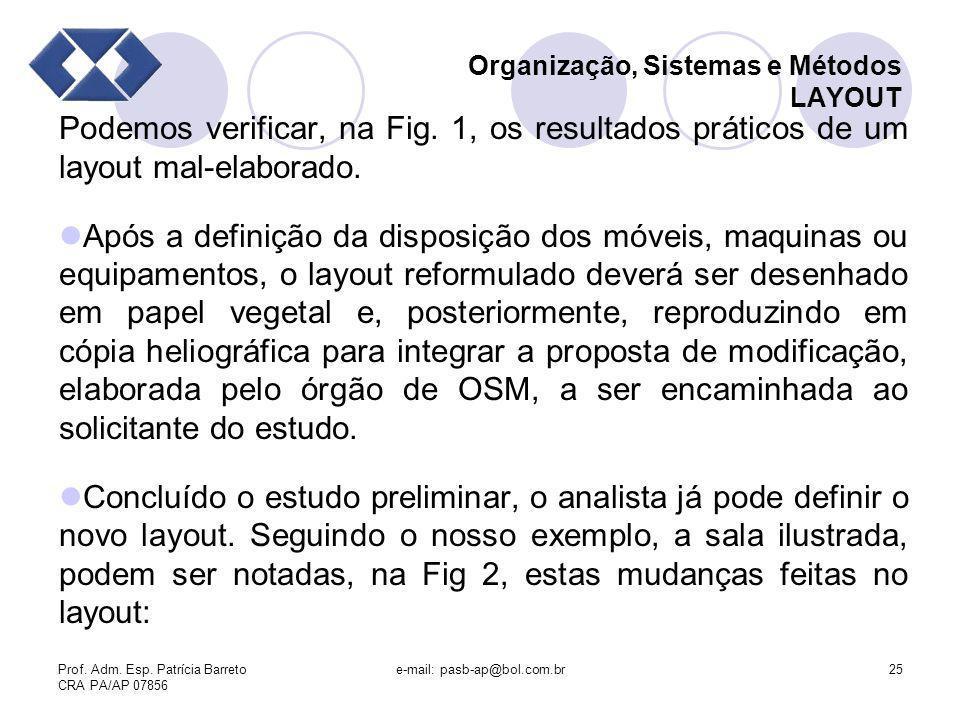 Prof. Adm. Esp. Patrícia Barreto CRA PA/AP 07856 e-mail: pasb-ap@bol.com.br25 Organização, Sistemas e Métodos LAYOUT Podemos verificar, na Fig. 1, os
