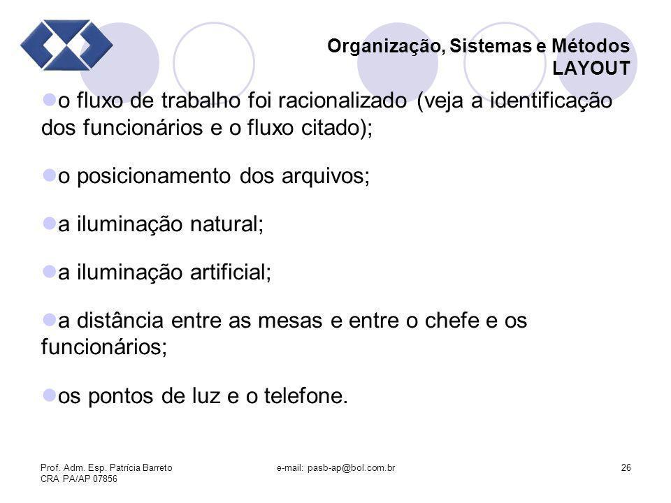 Prof. Adm. Esp. Patrícia Barreto CRA PA/AP 07856 e-mail: pasb-ap@bol.com.br26 Organização, Sistemas e Métodos LAYOUT o fluxo de trabalho foi racionali