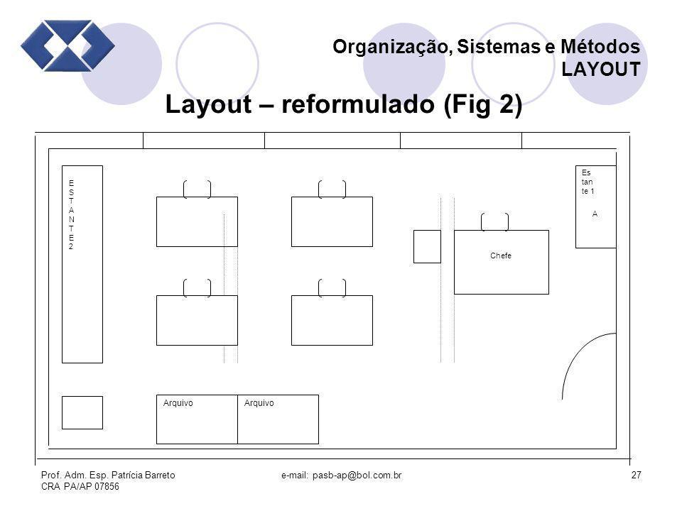 Prof. Adm. Esp. Patrícia Barreto CRA PA/AP 07856 e-mail: pasb-ap@bol.com.br27 Organização, Sistemas e Métodos LAYOUT Layout – reformulado (Fig 2) Arqu