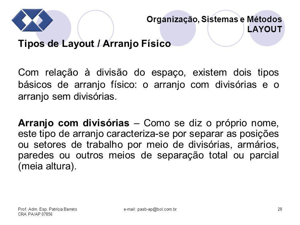 Prof. Adm. Esp. Patrícia Barreto CRA PA/AP 07856 e-mail: pasb-ap@bol.com.br28 Organização, Sistemas e Métodos LAYOUT Tipos de Layout / Arranjo Físico