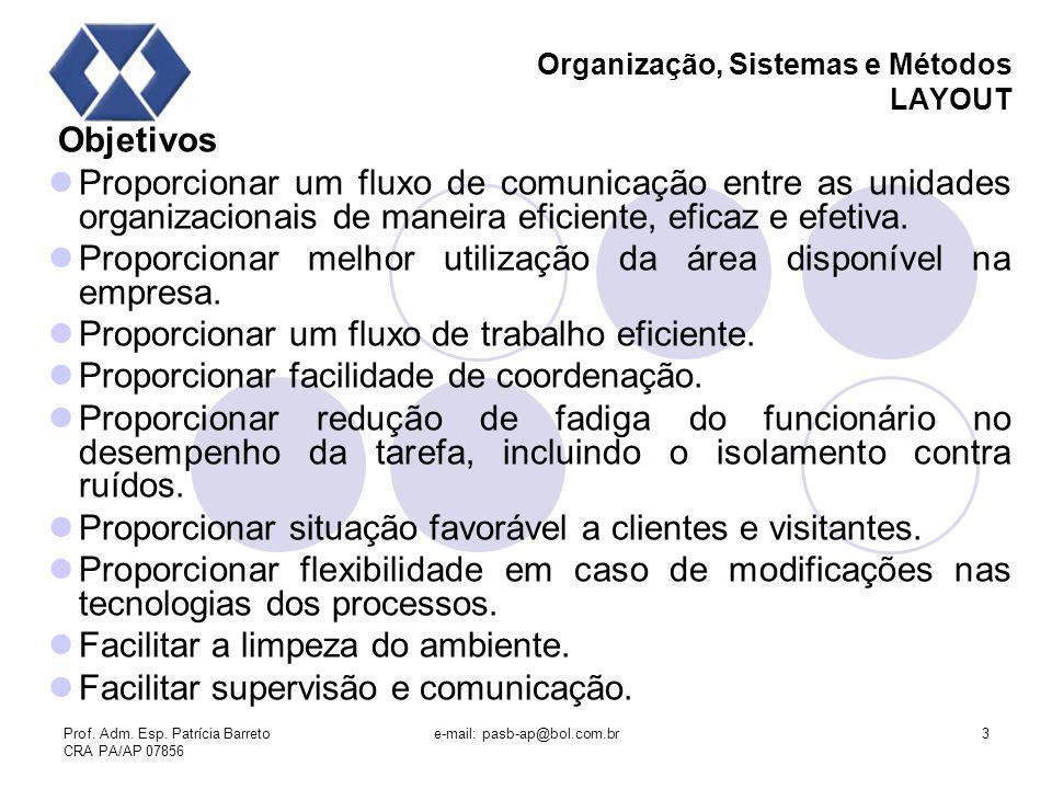 Prof. Adm. Esp. Patrícia Barreto CRA PA/AP 07856 e-mail: pasb-ap@bol.com.br3 Organização, Sistemas e Métodos LAYOUT Objetivos Proporcionar um fluxo de