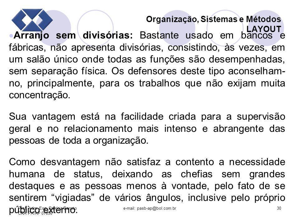 Prof. Adm. Esp. Patrícia Barreto CRA PA/AP 07856 e-mail: pasb-ap@bol.com.br30 Organização, Sistemas e Métodos LAYOUT Arranjo sem divisórias: Bastante