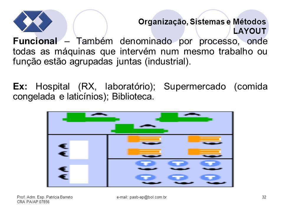 Prof. Adm. Esp. Patrícia Barreto CRA PA/AP 07856 e-mail: pasb-ap@bol.com.br32 Organização, Sistemas e Métodos LAYOUT Funcional – Também denominado por