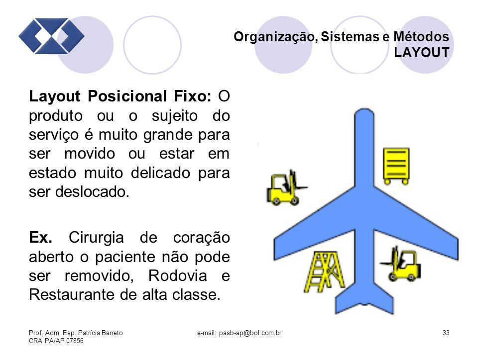 Prof. Adm. Esp. Patrícia Barreto CRA PA/AP 07856 e-mail: pasb-ap@bol.com.br33 Organização, Sistemas e Métodos LAYOUT Layout Posicional Fixo: O produto