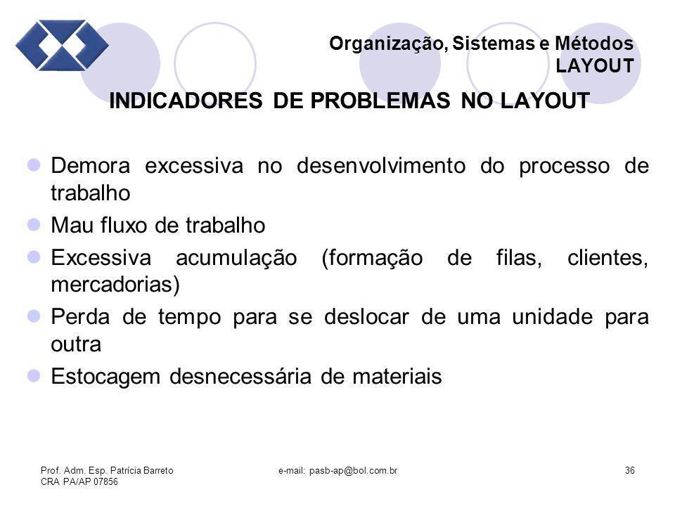 Prof. Adm. Esp. Patrícia Barreto CRA PA/AP 07856 e-mail: pasb-ap@bol.com.br36 Organização, Sistemas e Métodos LAYOUT INDICADORES DE PROBLEMAS NO LAYOU
