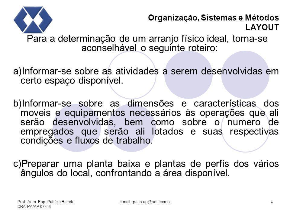 Prof. Adm. Esp. Patrícia Barreto CRA PA/AP 07856 e-mail: pasb-ap@bol.com.br4 Organização, Sistemas e Métodos LAYOUT Para a determinação de um arranjo