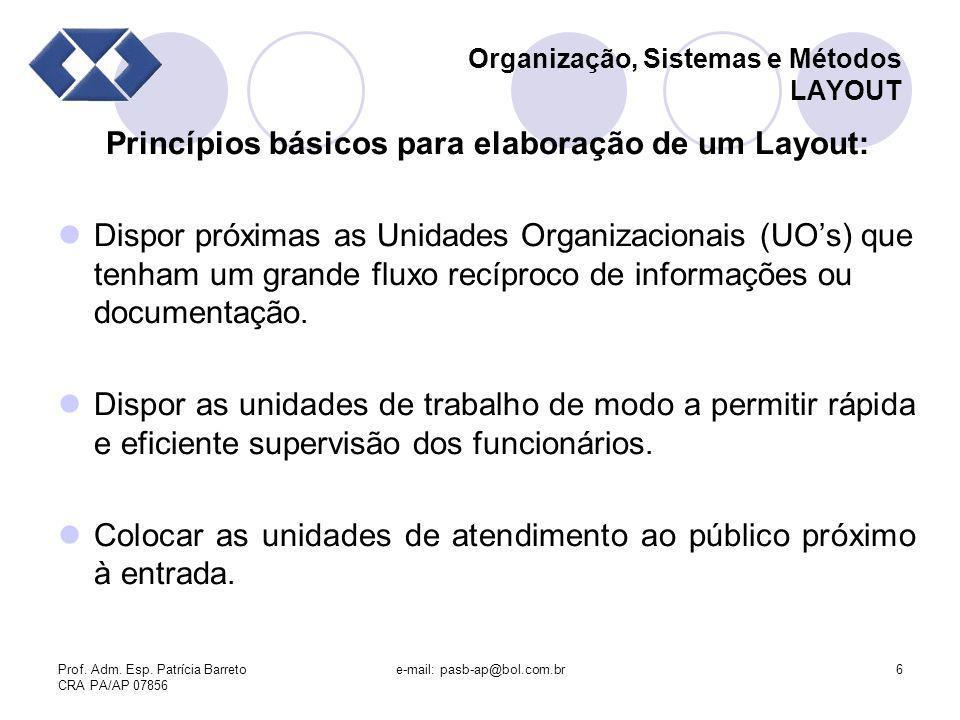 Prof. Adm. Esp. Patrícia Barreto CRA PA/AP 07856 e-mail: pasb-ap@bol.com.br6 Organização, Sistemas e Métodos LAYOUT Princípios básicos para elaboração