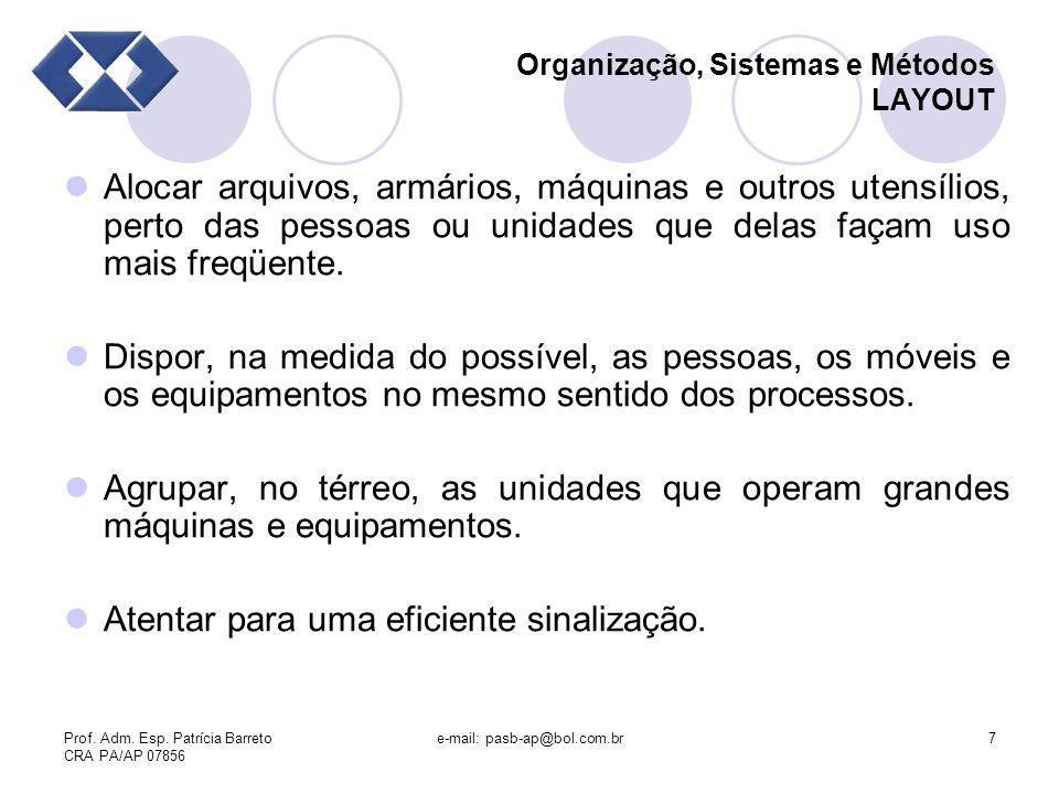 Prof. Adm. Esp. Patrícia Barreto CRA PA/AP 07856 e-mail: pasb-ap@bol.com.br7 Organização, Sistemas e Métodos LAYOUT Alocar arquivos, armários, máquina
