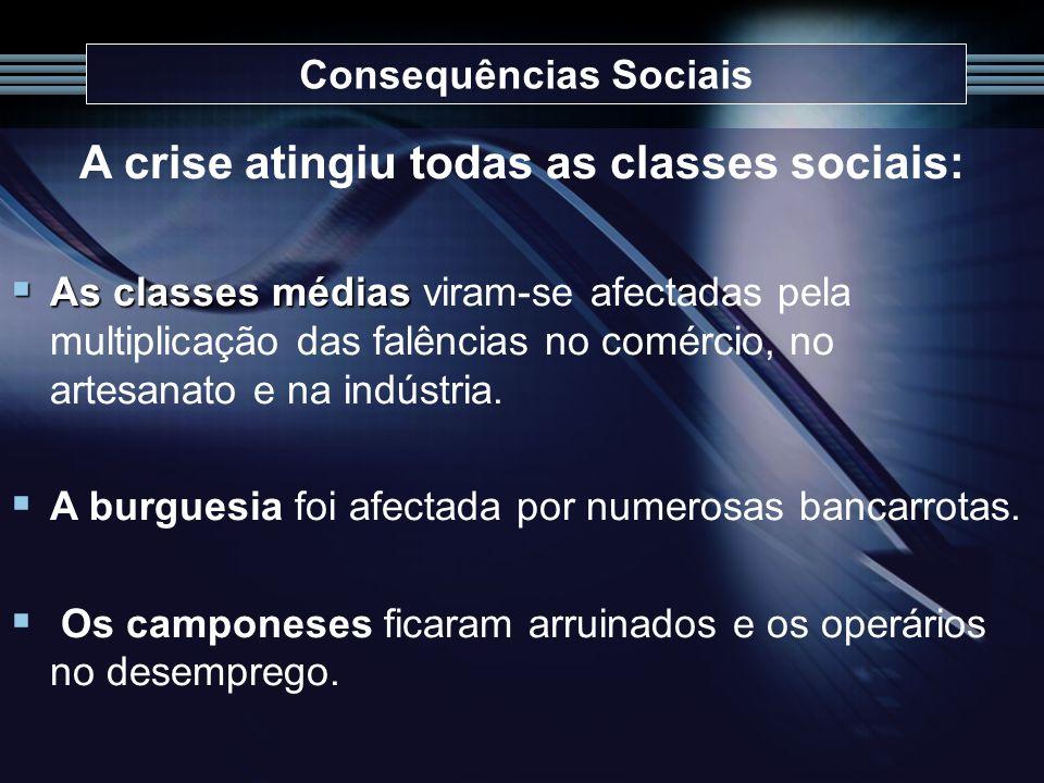 Consequências Sociais A crise atingiu todas as classes sociais: As classes médias As classes médias viram-se afectadas pela multiplicação das falência