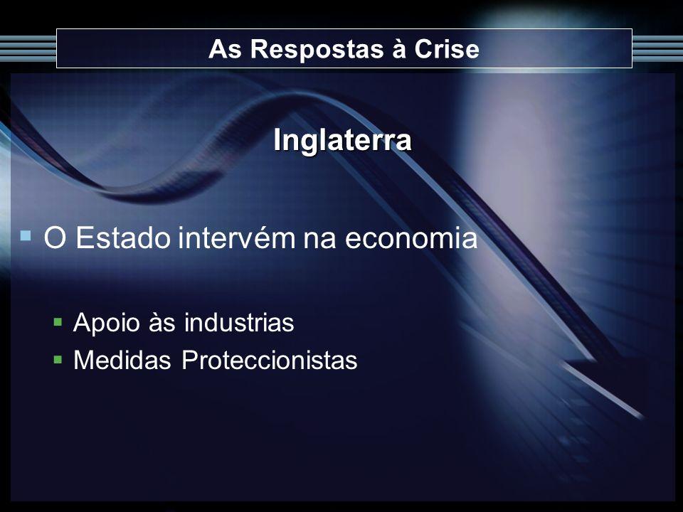 As Respostas à Crise Inglaterra O Estado intervém na economia Apoio às industrias Medidas Proteccionistas