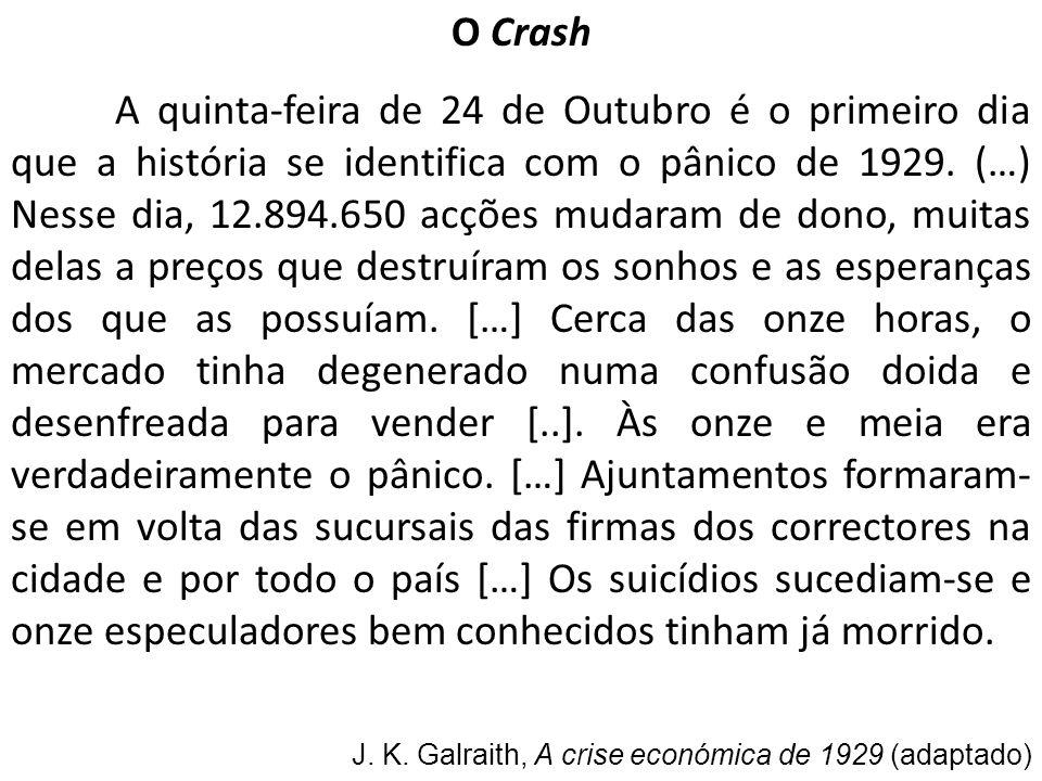 O Crash A quinta-feira de 24 de Outubro é o primeiro dia que a história se identifica com o pânico de 1929. (…) Nesse dia, 12.894.650 acções mudaram d