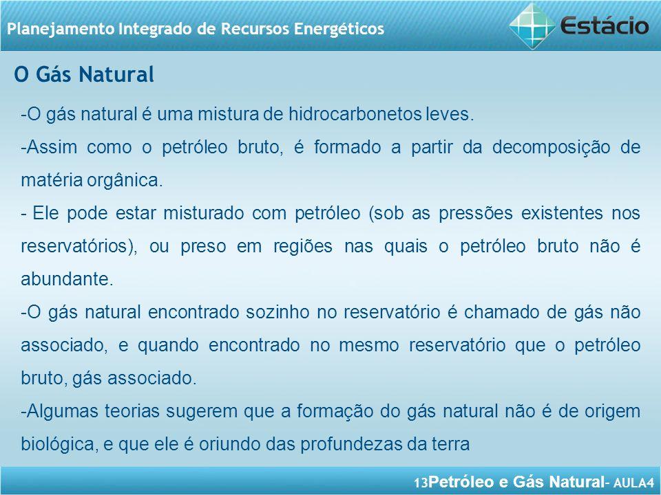 13 Petróleo e Gás Natural – AULA4 Planejamento Integrado de Recursos Energéticos -O gás natural é uma mistura de hidrocarbonetos leves. -Assim como o
