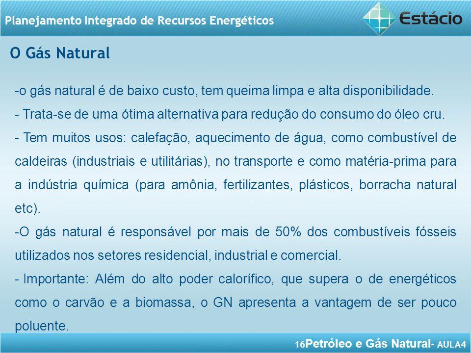 16 Petróleo e Gás Natural – AULA4 Planejamento Integrado de Recursos Energéticos -o gás natural é de baixo custo, tem queima limpa e alta disponibilid