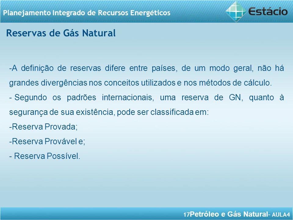17 Petróleo e Gás Natural – AULA4 Planejamento Integrado de Recursos Energéticos -A definição de reservas difere entre países, de um modo geral, não h