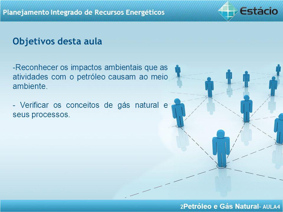 2 Petróleo e Gás Natural – AULA4 Planejamento Integrado de Recursos Energéticos Objetivos desta aula -Reconhecer os impactos ambientais que as ativida