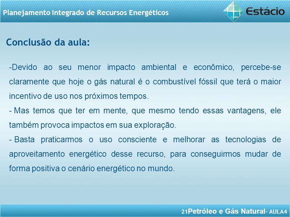 21 Petróleo e Gás Natural – AULA4 Planejamento Integrado de Recursos Energéticos Conclusão da aula: -Devido ao seu menor impacto ambiental e econômico