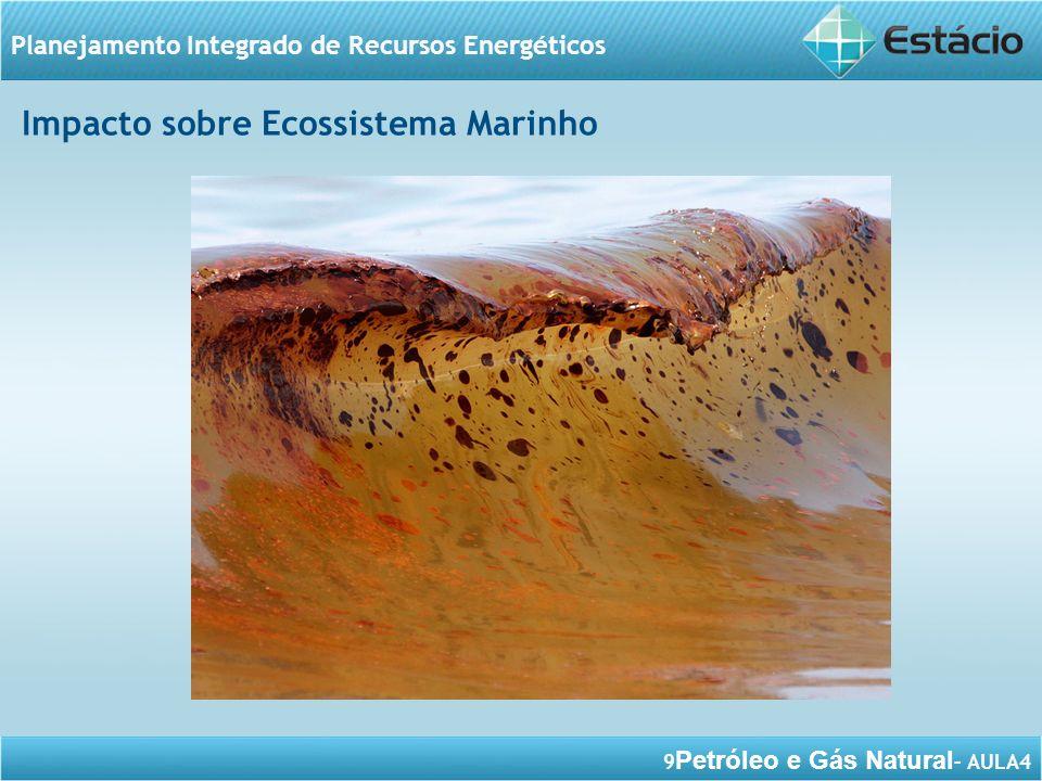 10 Petróleo e Gás Natural – AULA4 Planejamento Integrado de Recursos Energéticos - potencial poluidor de praias, de costões rochosos, de manguezais, de águas oceânicas, das águas, dos rios; - poluição do ar; - estresse ambiental; - alteração dos ecossistemas vizinhos; - mudanças no ecossistema marinho/ costeiro; - super exploração de recursos naturais; - impactos na colocação de dutos; - pesquisas sísmicas; - riscos de vida; Impactos Ambientais