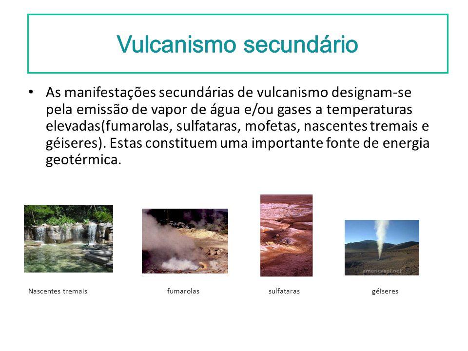 As manifestações secundárias de vulcanismo designam-se pela emissão de vapor de água e/ou gases a temperaturas elevadas(fumarolas, sulfataras, mofetas