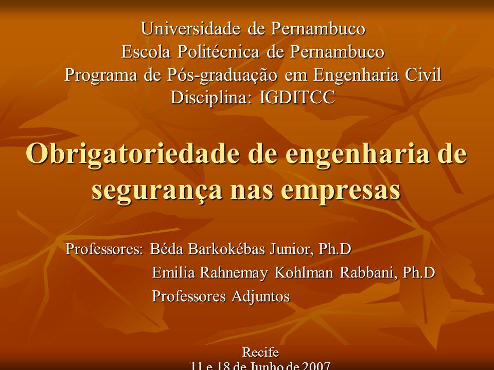 Obrigatoriedade de engenharia de segurança nas empresas Universidade de Pernambuco Escola Politécnica de Pernambuco Programa de Pós-graduação em Engen