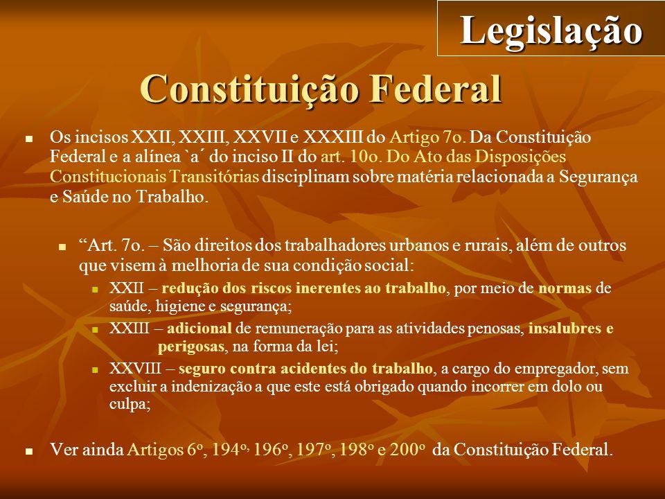 Constituição Federal Os incisos XXII, XXIII, XXVII e XXXIII do Artigo 7o. Da Constituição Federal e a alínea `a´ do inciso II do art. 10o. Do Ato das