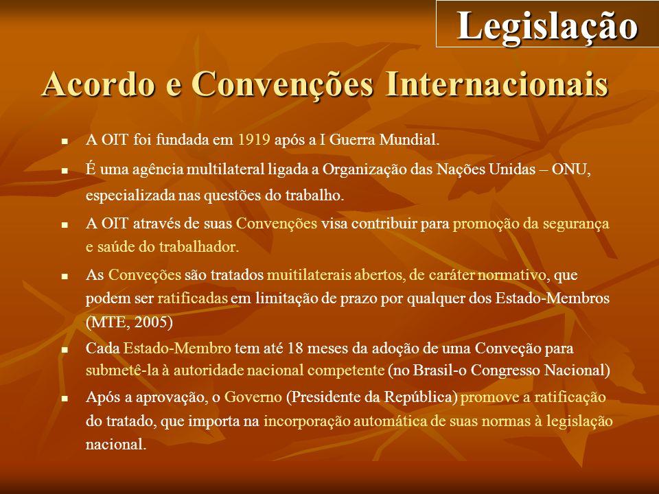 Acordo e Convenções Internacionais A OIT foi fundada em 1919 após a I Guerra Mundial. É uma agência multilateral ligada a Organização das Nações Unida