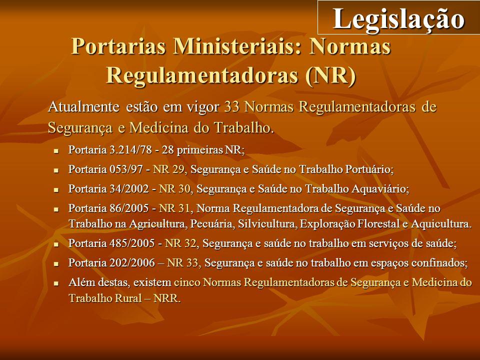 Portarias Ministeriais: Normas Regulamentadoras (NR) Atualmente estão em vigor 33 Normas Regulamentadoras de Segurança e Medicina do Trabalho. Portari