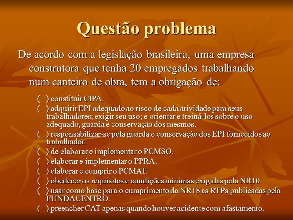 Questão problema De acordo com a legislação brasileira, uma empresa construtora que tenha 20 empregados trabalhando num canteiro de obra, tem a obriga
