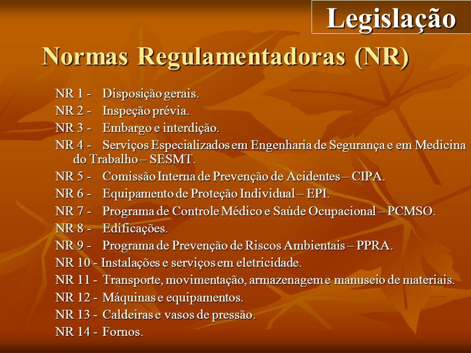 Normas Regulamentadoras (NR) NR 1 -Disposição gerais. NR 2 -Inspeção prévia. NR 3 -Embargo e interdição. NR 4 -Serviços Especializados em Engenharia d