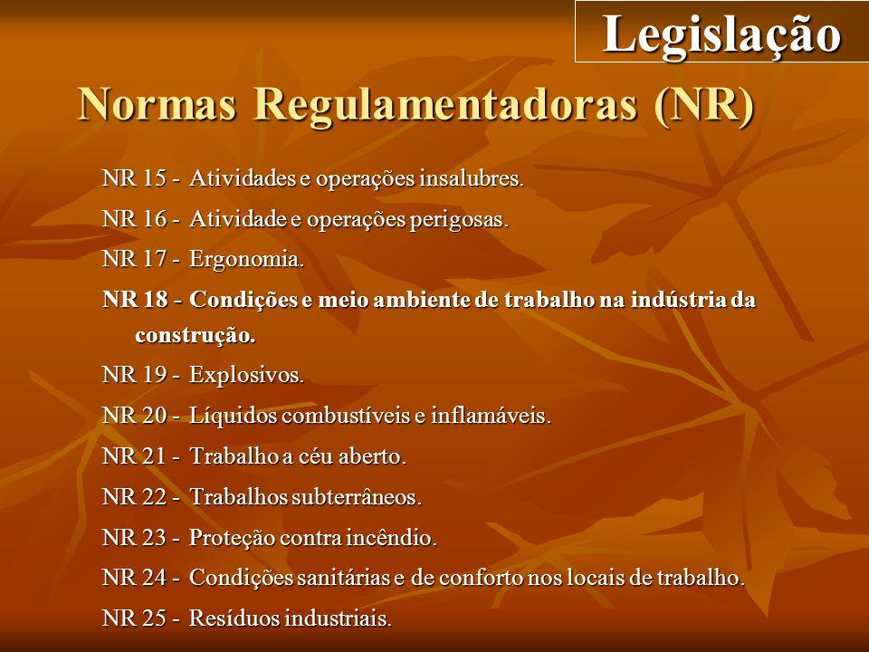 Normas Regulamentadoras (NR) NR 15 -Atividades e operações insalubres. NR 16 -Atividade e operações perigosas. NR 17 -Ergonomia. NR 18 -Condições e me
