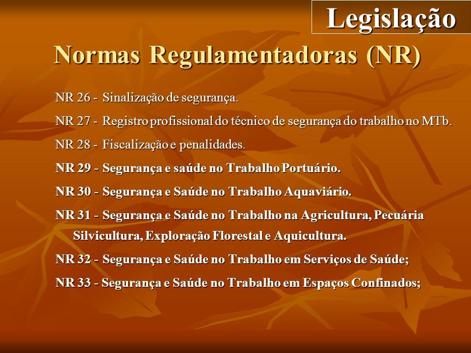 Normas Regulamentadoras (NR) NR 26 -Sinalização de segurança. NR 27 -Registro profissional do técnico de segurança do trabalho no MTb. NR 28 -Fiscaliz