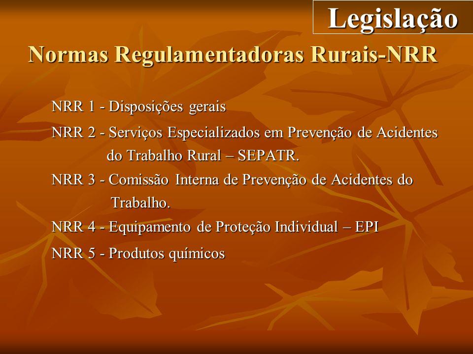Normas Regulamentadoras Rurais-NRR NRR 1 - Disposições gerais NRR 2 - Serviços Especializados em Prevenção de Acidentes do Trabalho Rural – SEPATR. do