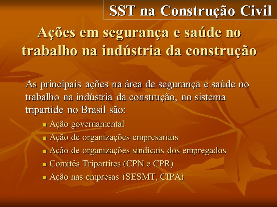 Ações em segurança e saúde no trabalho na indústria da construção As principais ações na área de segurança e saúde no trabalho na indústria da constru