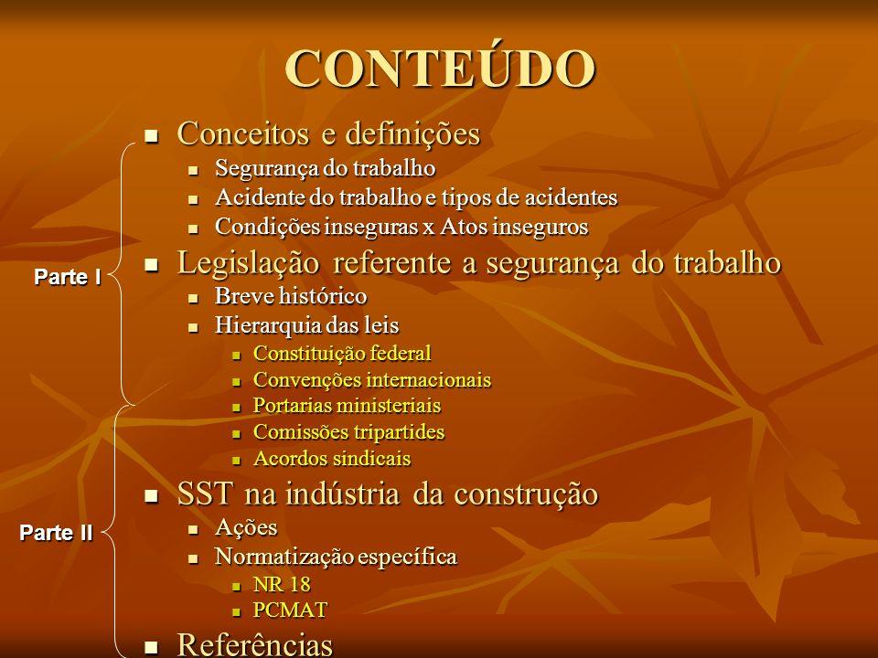 CONTEÚDO Conceitos e definições Conceitos e definições Segurança do trabalho Segurança do trabalho Acidente do trabalho e tipos de acidentes Acidente