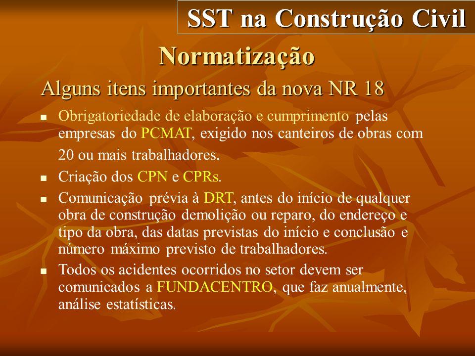 Normatização SST na Construção Civil Alguns itens importantes da nova NR 18 Obrigatoriedade de elaboração e cumprimento pelas empresas do PCMAT, exigi