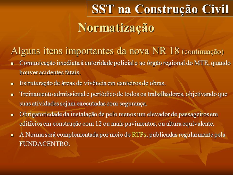 Normatização SST na Construção Civil Alguns itens importantes da nova NR 18 (continuação) Comunicação imediata á autoridade policial e ao órgão region