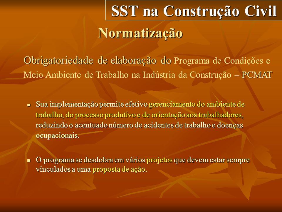 Normatização SST na Construção Civil Obrigatoriedade de elaboração do – PCMAT Obrigatoriedade de elaboração do Programa de Condições e Meio Ambiente d