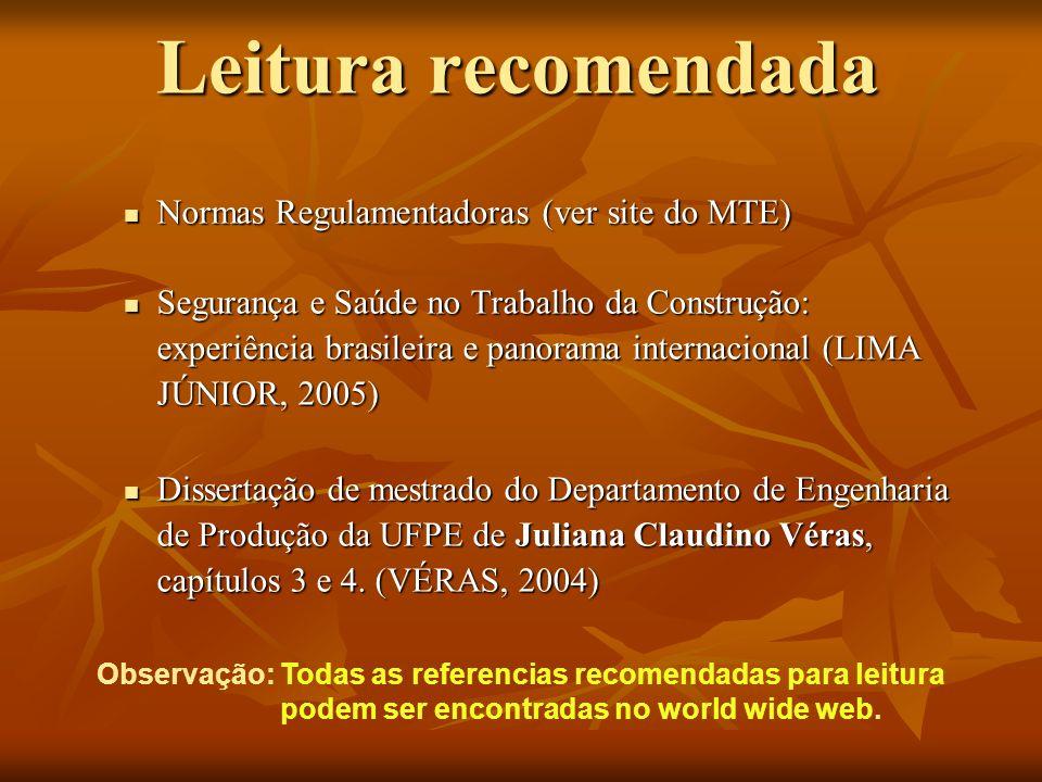 Leitura recomendada Normas Regulamentadoras (ver site do MTE) Normas Regulamentadoras (ver site do MTE) Segurança e Saúde no Trabalho da Construção: e