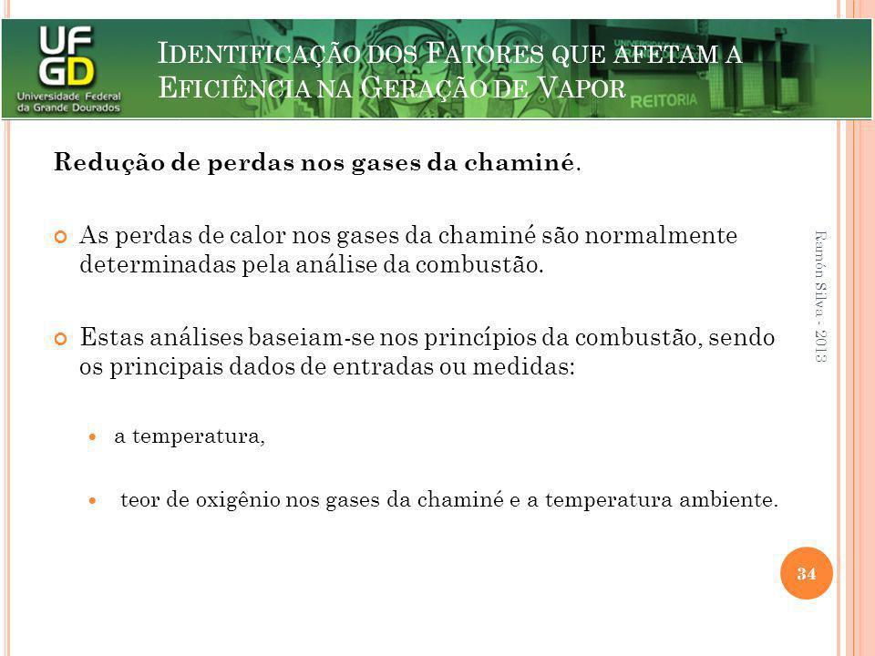 I DENTIFICAÇÃO DOS F ATORES QUE AFETAM A E FICIÊNCIA NA G ERAÇÃO DE V APOR Redução de perdas nos gases da chaminé. As perdas de calor nos gases da cha