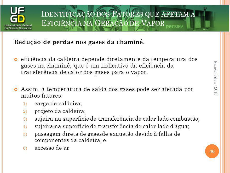 I DENTIFICAÇÃO DOS F ATORES QUE AFETAM A E FICIÊNCIA NA G ERAÇÃO DE V APOR Redução de perdas nos gases da chaminé. eficiência da caldeira depende dire