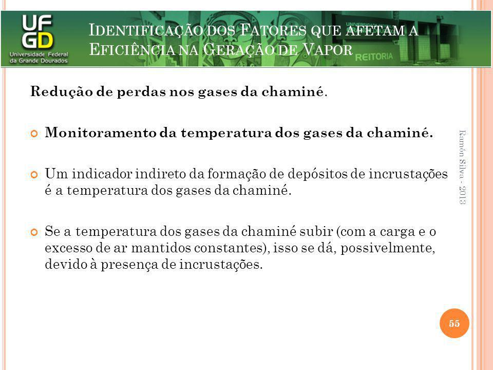 I DENTIFICAÇÃO DOS F ATORES QUE AFETAM A E FICIÊNCIA NA G ERAÇÃO DE V APOR Redução de perdas nos gases da chaminé. Monitoramento da temperatura dos ga
