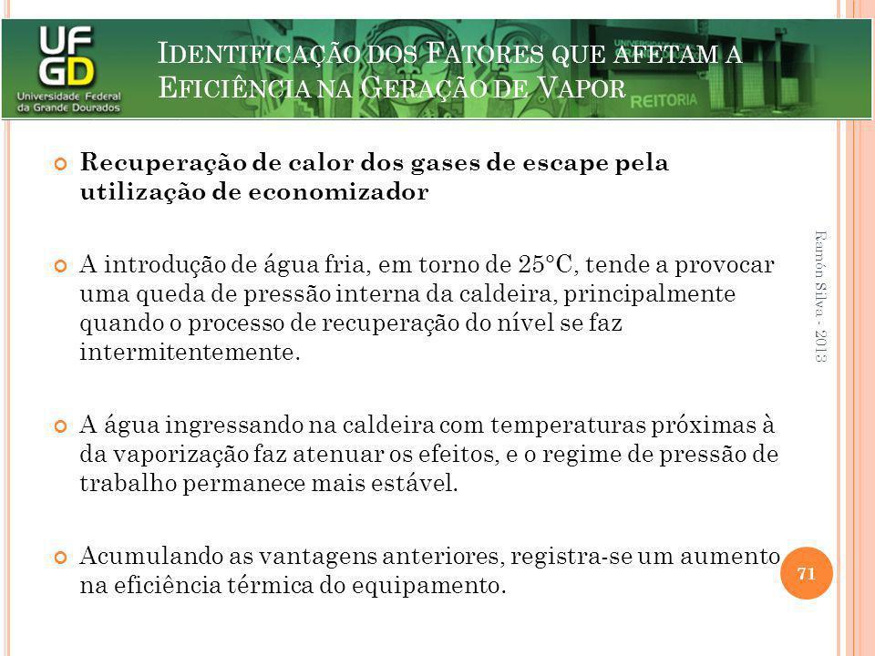 I DENTIFICAÇÃO DOS F ATORES QUE AFETAM A E FICIÊNCIA NA G ERAÇÃO DE V APOR Recuperação de calor dos gases de escape pela utilização de economizador A