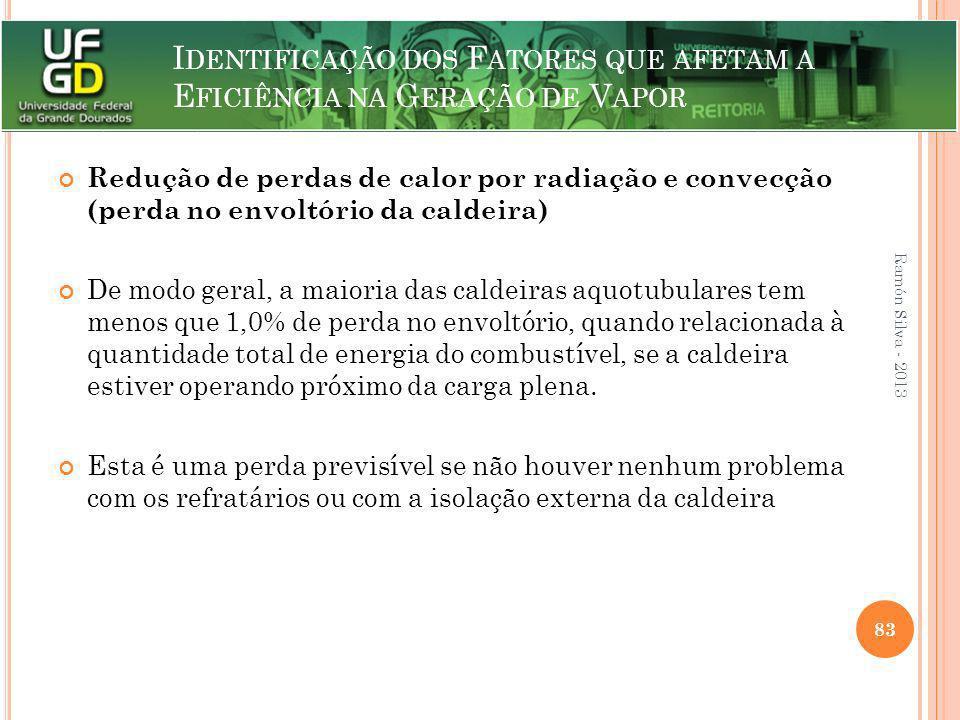 I DENTIFICAÇÃO DOS F ATORES QUE AFETAM A E FICIÊNCIA NA G ERAÇÃO DE V APOR Redução de perdas de calor por radiação e convecção (perda no envoltório da