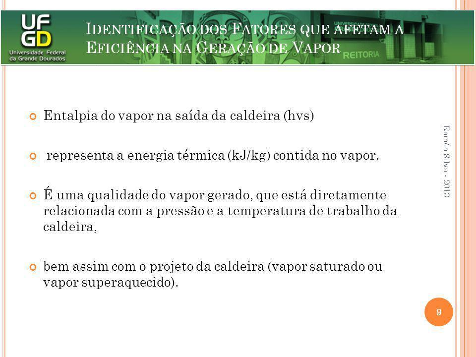 I DENTIFICAÇÃO DOS F ATORES QUE AFETAM A E FICIÊNCIA NA G ERAÇÃO DE V APOR Entalpia do vapor na saída da caldeira (hvs) representa a energia térmica (