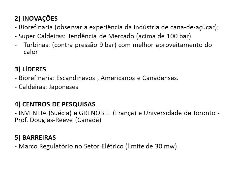 2) INOVAÇÕES - Biorefinaria (observar a experiência da indústria de cana-de-açúcar); - Super Caldeiras: Tendência de Mercado (acima de 100 bar) -Turbi