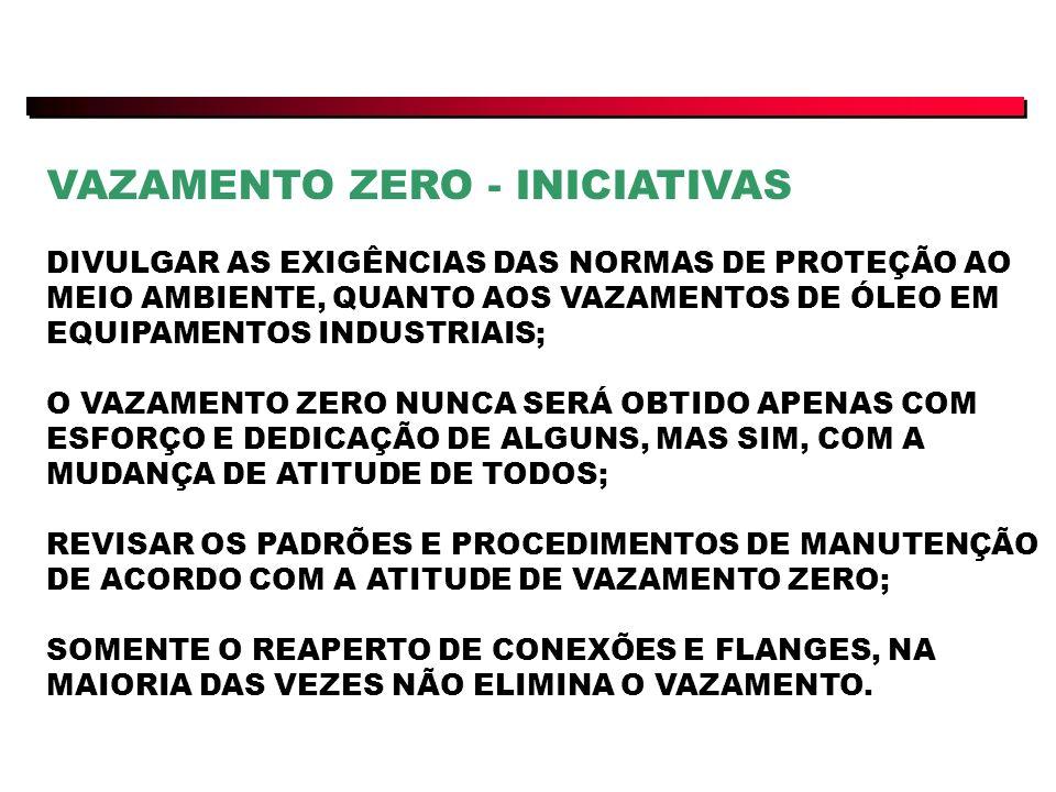 VAZAMENTO ZERO - INICIATIVAS DIVULGAR AS EXIGÊNCIAS DAS NORMAS DE PROTEÇÃO AO MEIO AMBIENTE, QUANTO AOS VAZAMENTOS DE ÓLEO EM EQUIPAMENTOS INDUSTRIAIS; O VAZAMENTO ZERO NUNCA SERÁ OBTIDO APENAS COM ESFORÇO E DEDICAÇÃO DE ALGUNS, MAS SIM, COM A MUDANÇA DE ATITUDE DE TODOS; REVISAR OS PADRÕES E PROCEDIMENTOS DE MANUTENÇÃO DE ACORDO COM A ATITUDE DE VAZAMENTO ZERO; SOMENTE O REAPERTO DE CONEXÕES E FLANGES, NA MAIORIA DAS VEZES NÃO ELIMINA O VAZAMENTO.